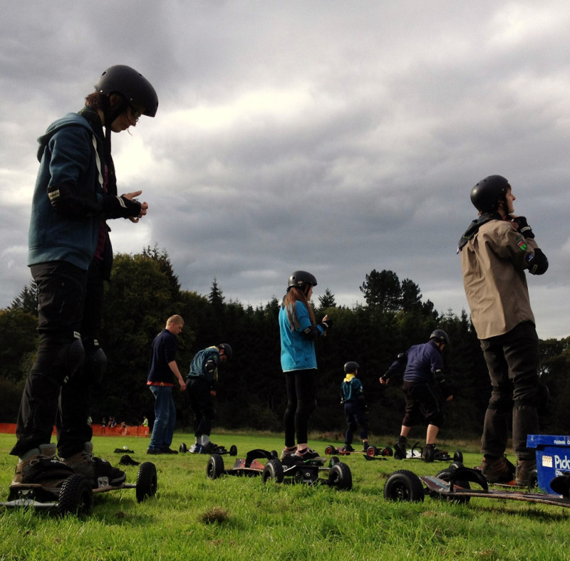 Explorers at Bonaly with mountain boards