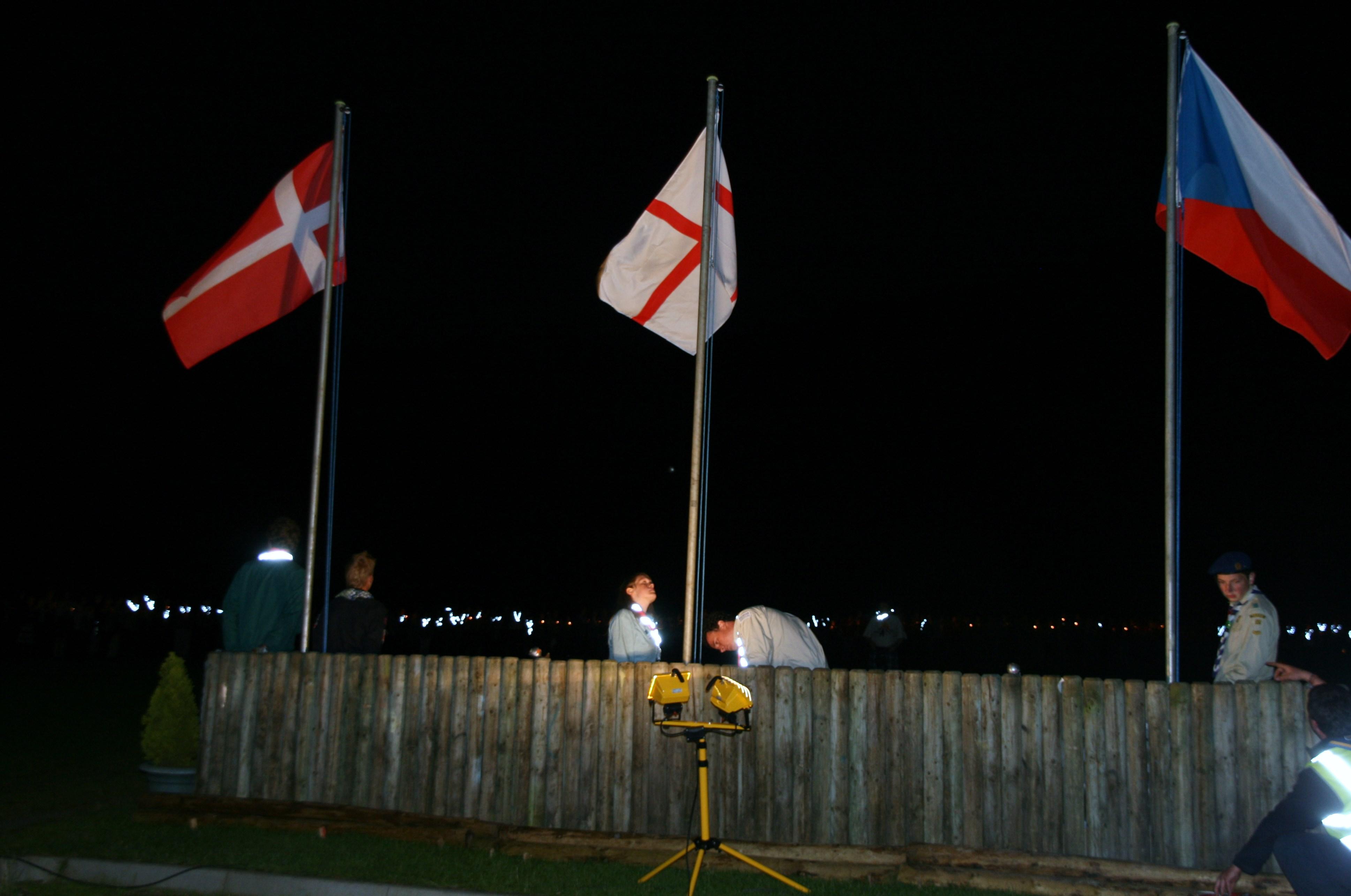 International flags at a camp at Bonaly