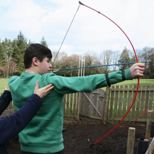 Enjoying archery at Bonaly