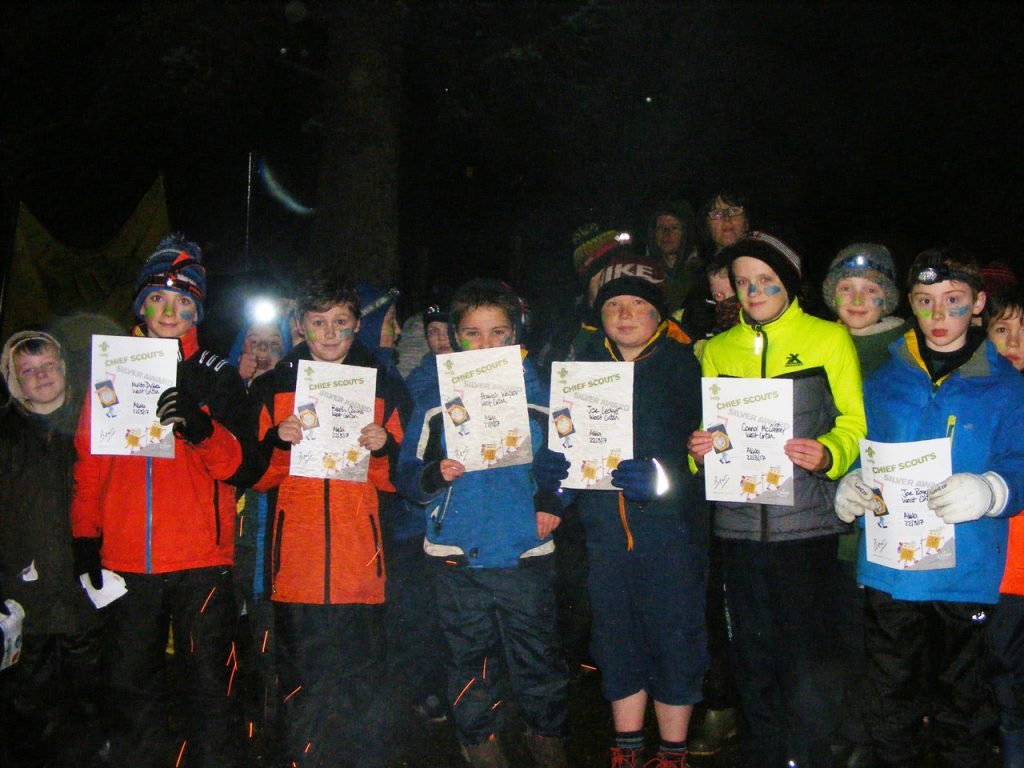 West Linton Cubs with Chief Scout's Silver Awards
