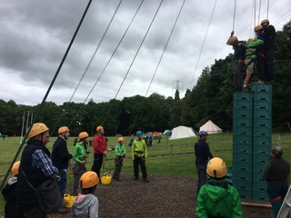 MSPs and Buckstone Scouts try to conquer crate stacking
