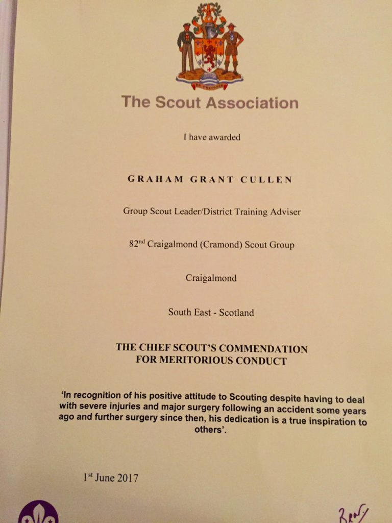 Graham Cullen's Chief Scout's Commendation for Meritorious Service certificate