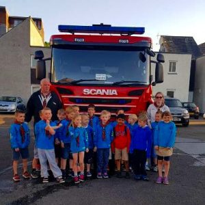 Beavers with fire engine